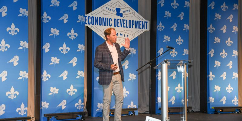 Christopher Gergen, CEO and co-founder of Forward Cities, presenting at the 2019 Statewide Economic Development Summit presented by Entergy